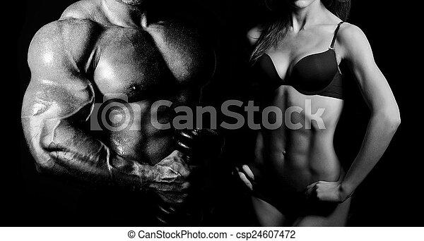 Bodybuilding. Man and  woman - csp24607472