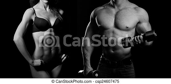 Bodybuilding. Man and  woman - csp24607475