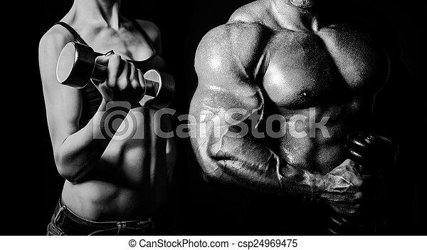 Bodybuilding. Man and  woman - csp24969475