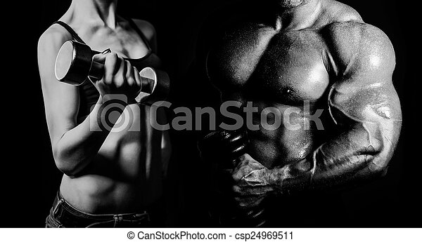 Bodybuilding. Man and  woman - csp24969511