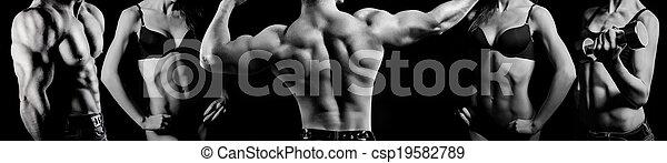 Bodybuilding. Man and  woman - csp19582789
