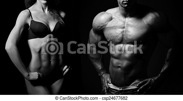 Bodybuilding. Man and  woman - csp24677682