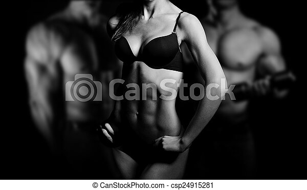 Bodybuilding. Man and  woman - csp24915281