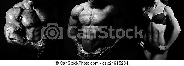 Bodybuilding. Man and  woman - csp24915284