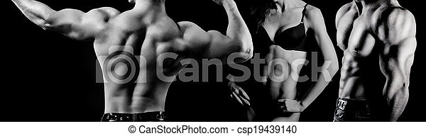 Bodybuilding. Man and  woman - csp19439140