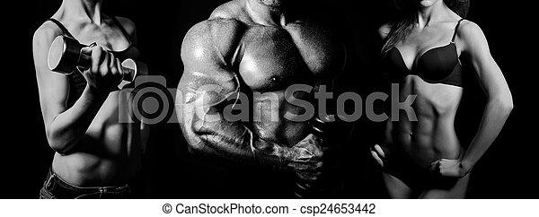 Bodybuilding. Man and  woman - csp24653442