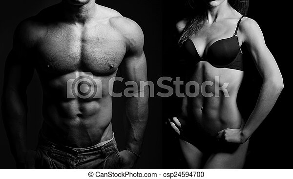 Bodybuilding. Man and  woman - csp24594700