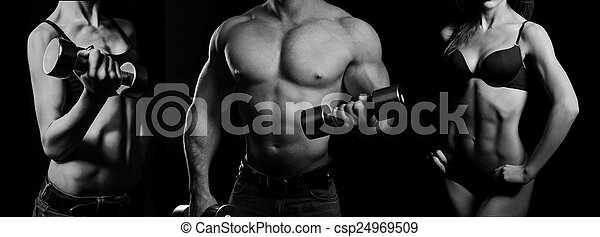 Bodybuilding. Man and  woman - csp24969509