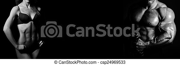 Bodybuilding. Man and  woman - csp24969533