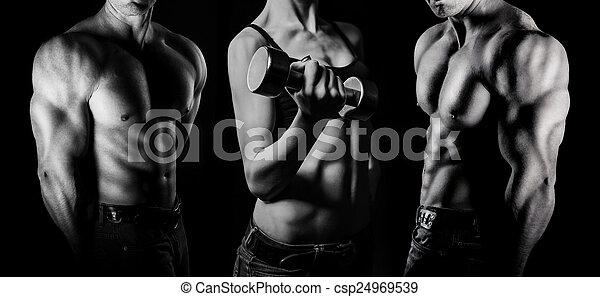 Bodybuilding. Man and  woman - csp24969539