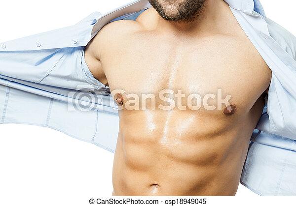 bodybuilding man shirt off - csp18949045