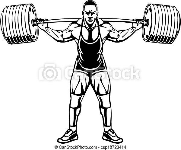 bodybuilding, powerlifting, -, vector. - csp18723414