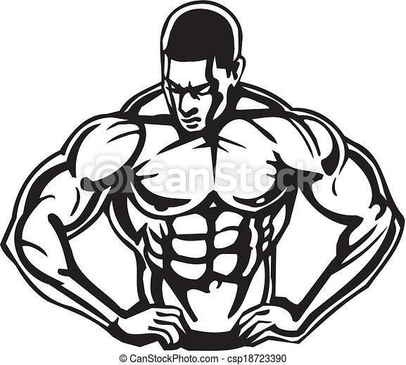 bodybuilding, powerlifting, -, vector. - csp18723390