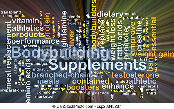 Bodybuilding supplements background concept glowing - csp28845287