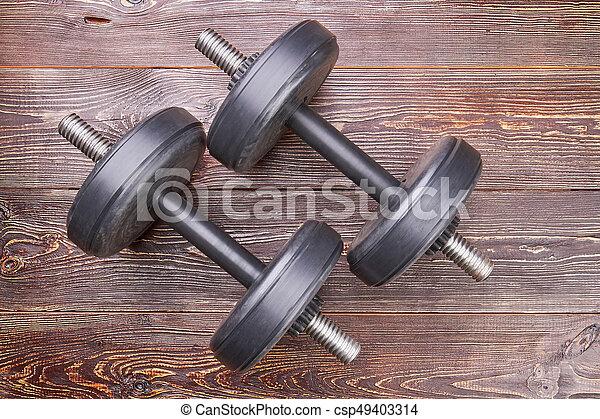 Bodybuilding workout dumbbells, top view