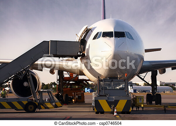 Boeing being loaded with cargo - csp0746504