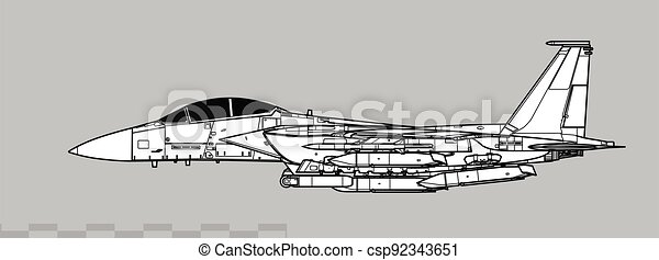 Boeing F-15E Strike Eagle winh AGM-158 JASSM Missiles. Vector drawing of multirole strike fighter. - csp92343651