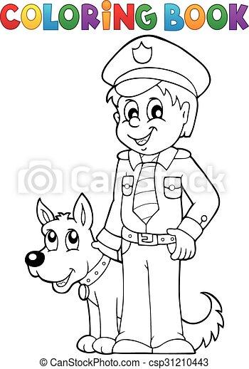 boek, conducteur, kleuren, dog, politieagent - csp31210443