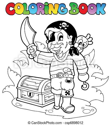 boek, kleuren, zeerover, jonge - csp6898012