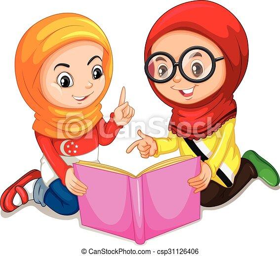 boek, meiden, lezende , moslim - csp31126406