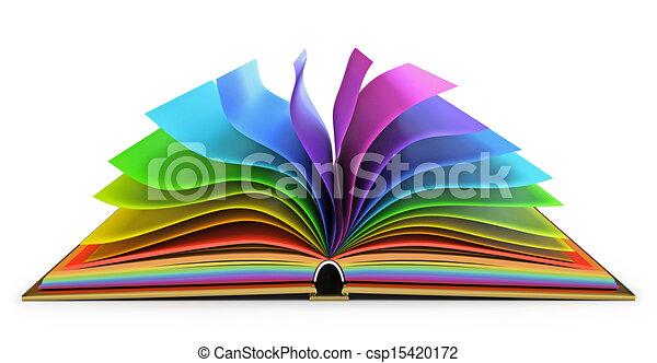 boek, open, pagina's, kleurrijke - csp15420172