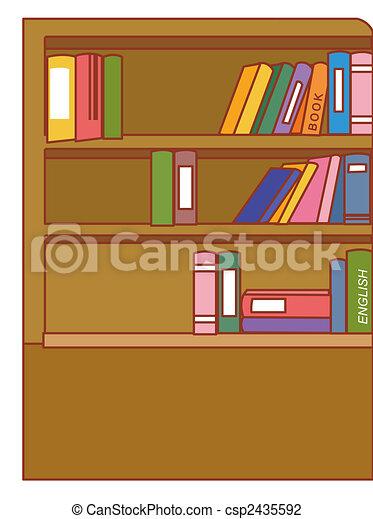 Bruine , isoleren, illustratie, boekenkast, achtergrond, witte ...