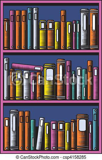 Alles, boekenkast, afwerpen, editable, illustratie, vector, boekjes ...