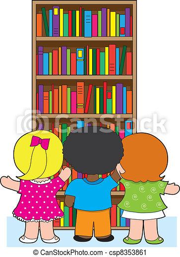 Boekenkast, geitjes. School, kleurrijke, drie, jonge, boekjes ...