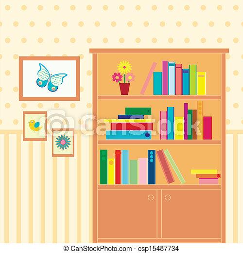 Boekenkast, kamer, illustratie.