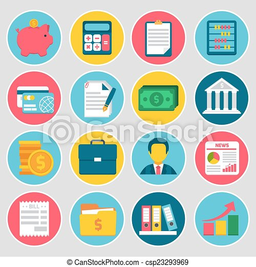 boekhouding, set, iconen - csp23293969