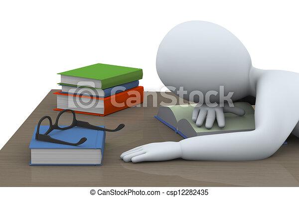 boekjes , 3d, man slapend - csp12282435