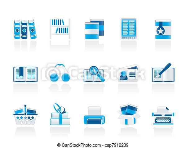 boekjes , bibliotheek, iconen - csp7912239