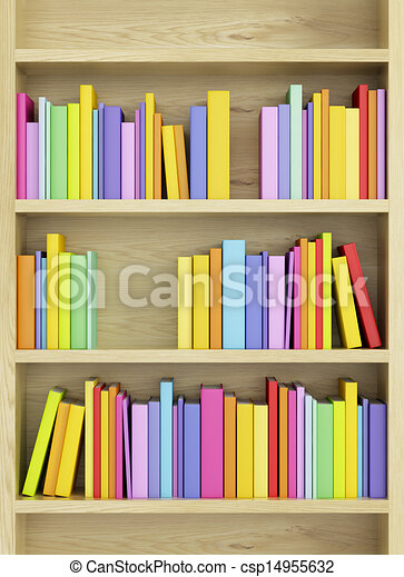 Boekjes , boekenkast, veelkleurig. Boekjes , boekenkast, 3d, render ...