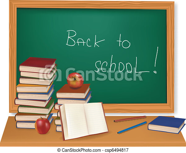 boekjes , desk., vector., school - csp6494817