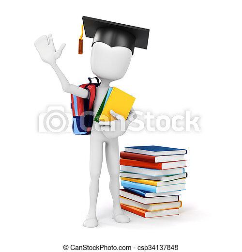 boekjes , enig, 3d, vasthouden, opleiding, man - csp34137848