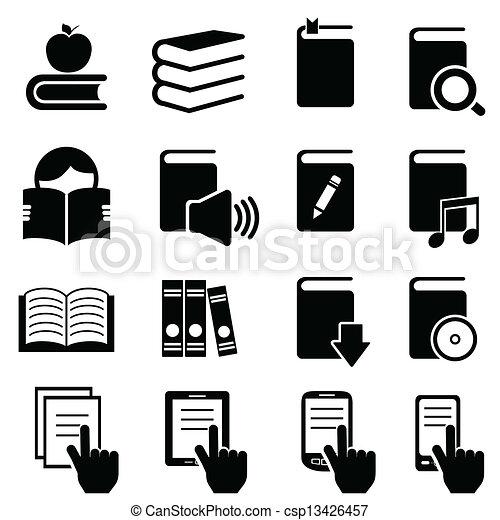 boekjes , literatuur, lezende , iconen - csp13426457