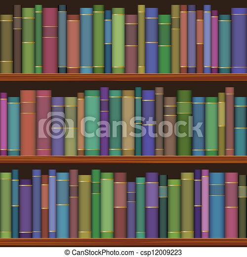 boekjes , oud, seamless, bibliotheek, planken - csp12009223