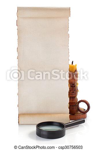 boekrol, perkament, vrijstaand, witte  - csp30756503