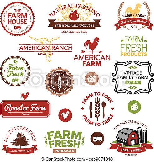 boerderij, ouderwetse , etiketten, moderne - csp9674848
