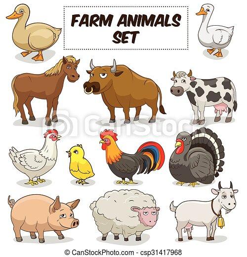 boerderij, set, dieren, spotprent, vector - csp31417968