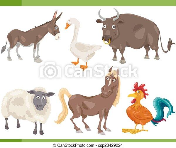 boerderij, set, dieren, spotprent, illustratie - csp23429224