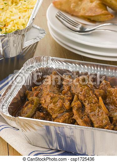 boeuf, madras, légume, pilau, samosa, away-, riz, prendre, indien - csp1725436