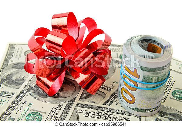 bog, kontanter, rulle, röd - csp35986541