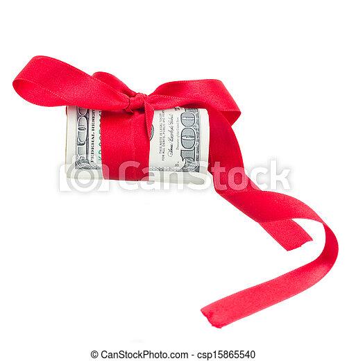 bog, rulle, dollars, röd - csp15865540
