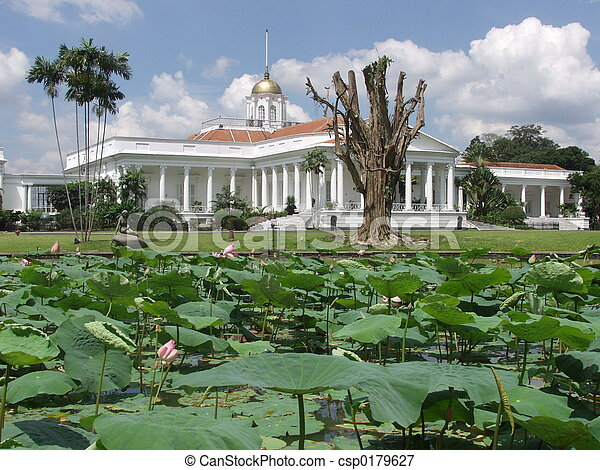 Bogor palace. Presidential palace in bogor, java, in the middle of ...