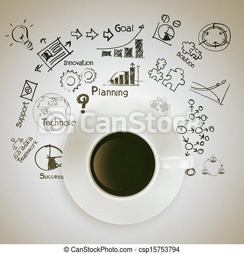 3D-Kaffeebecher auf Business-Strategie-Diagramm - csp15753794