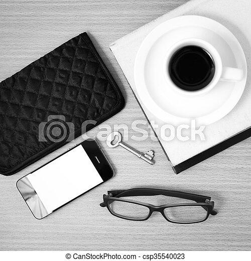 Bohnenkaffee, telefon, farbe, buch, geldbörse, schwarz,... Stockfoto ...