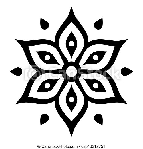 Boho Flower Design Inspired By Mehndi Indian Henna Tattoo Vector