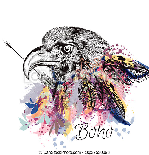 Boho Tribal Design With Eagle Holding Arrow And Feathers In Watercolor Hand Drawn Style Stock Illustration