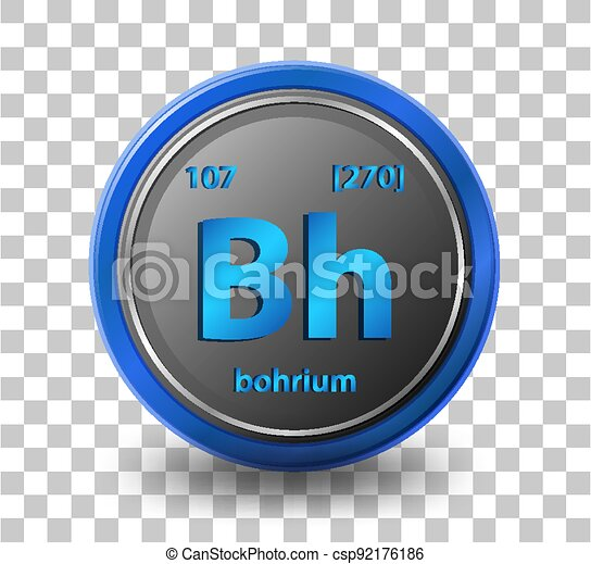 Bohrium chemical element. Chemical symbol with atomic number and atomic mass. - csp92176186